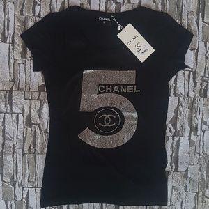 Tshirt 5 silver stone Chanel